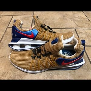 Nike Shox Gravity USA Mens Metallic Gold Blue Red